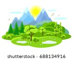 spring landscape with trees ...   Shutterstock .eps vector #688134916