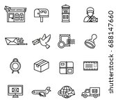 post service icon set. line... | Shutterstock .eps vector #688147660