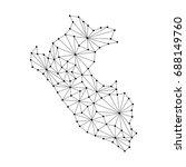 peru map of polygonal mosaic... | Shutterstock .eps vector #688149760