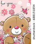cute teddy bear with flowers on ... | Shutterstock .eps vector #688151854