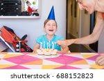 three years old blonde child... | Shutterstock . vector #688152823