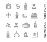 law   justice icon set   Shutterstock .eps vector #688154224