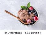 homemade chocolate ice cream...   Shutterstock . vector #688154554