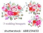 3 wedding bouquets | Shutterstock .eps vector #688154653
