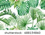 tropical leaves. monstera ... | Shutterstock . vector #688154860