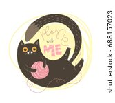 Stock vector play with me dark brown cat vector illustration 688157023