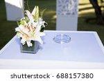 garden white flower presentation | Shutterstock . vector #688157380