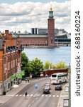 Small photo of STOCKHOLM, SWEDEN - JULY 14, 2017: View over City Hall and Munchenbryggeriet in Stockholm, Sweden