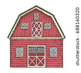 farming barn. red wooden farm... | Shutterstock .eps vector #688160320