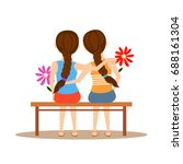 back view of two cute girls... | Shutterstock .eps vector #688161304