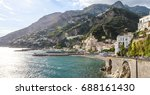 typical view of amalfi coast... | Shutterstock . vector #688161430