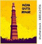 indian monument  qutub minar | Shutterstock .eps vector #688162456