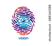 fingerprint with eye inside.... | Shutterstock . vector #688164388