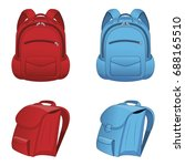 red and blue backpack isolated... | Shutterstock .eps vector #688165510