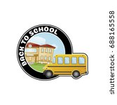 logo with school bus and text... | Shutterstock .eps vector #688165558