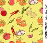 seamless patterns from ripe... | Shutterstock .eps vector #688167769