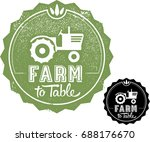 farm to table menu graphic stamp | Shutterstock .eps vector #688176670