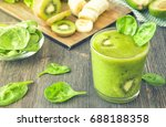 spinach smoothie with banana... | Shutterstock . vector #688188358