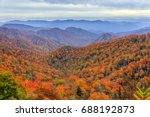 View of fall foliage and mountains in Great Smoky Mountains National Park, along the North Carolina-Tennessee border