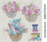 set of flowers embroidery.... | Shutterstock .eps vector #688193344