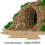 cartoon cave isolated on white... | Shutterstock .eps vector #688193854