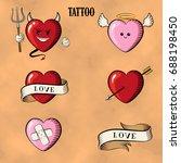 tattoo set. isolated tattoo...   Shutterstock .eps vector #688198450