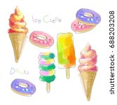 watercolor ice cream and donuts ... | Shutterstock . vector #688203208