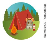 camping wild life concept | Shutterstock .eps vector #688208800