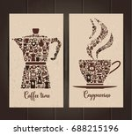 coffee cup and pot  icon set of ... | Shutterstock .eps vector #688215196