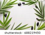 bamboo leaf background. white... | Shutterstock . vector #688219450