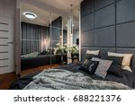contemporary bedroom with... | Shutterstock . vector #688221376