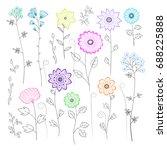 cute floral vector elements... | Shutterstock .eps vector #688225888