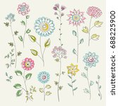 cute floral vector elements... | Shutterstock .eps vector #688225900