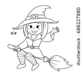 halloween witch flying on broom.... | Shutterstock .eps vector #688227880