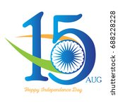 happy indian independence day... | Shutterstock .eps vector #688228228