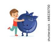 happy boy having fun with fresh ... | Shutterstock .eps vector #688230700
