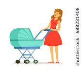 beautiful young mother in red...   Shutterstock .eps vector #688231408