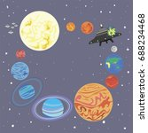 solar system and a funny alien... | Shutterstock . vector #688234468