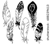 set with feathers in boho style.... | Shutterstock .eps vector #688239613
