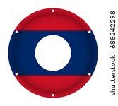 round metallic flag of laos... | Shutterstock .eps vector #688242298