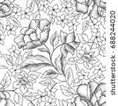 floral seamless pattern. garden ... | Shutterstock .eps vector #688244020