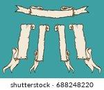 vintage hand drawn ribbon... | Shutterstock .eps vector #688248220