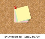 cork board  with sheets of... | Shutterstock .eps vector #688250704