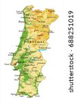 portugal relief map | Shutterstock .eps vector #688251019