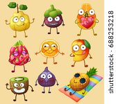 funny fruit characters isolated ... | Shutterstock .eps vector #688253218