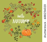 autumn wreath with leaves ...   Shutterstock .eps vector #688256020