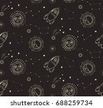 night sky seamless pattern with ... | Shutterstock .eps vector #688259734
