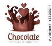 liquid chocolate splash with... | Shutterstock .eps vector #688260244