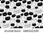 cat pattern. seamless... | Shutterstock .eps vector #688262200
