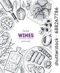 wines and gourmet snacks frame... | Shutterstock .eps vector #688267786